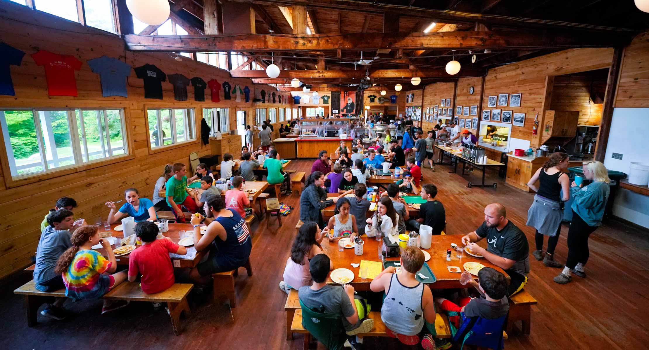 camp walt whitman dining hall with kids eating