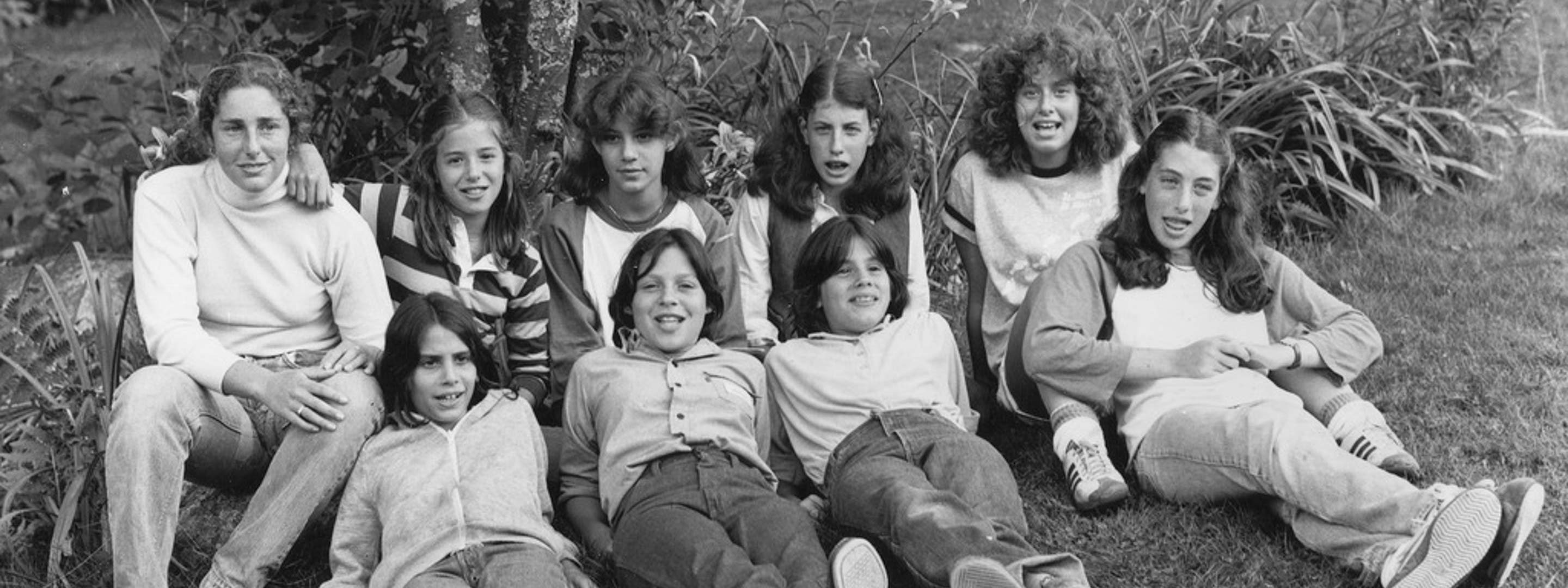 black and white picture of young girl campers