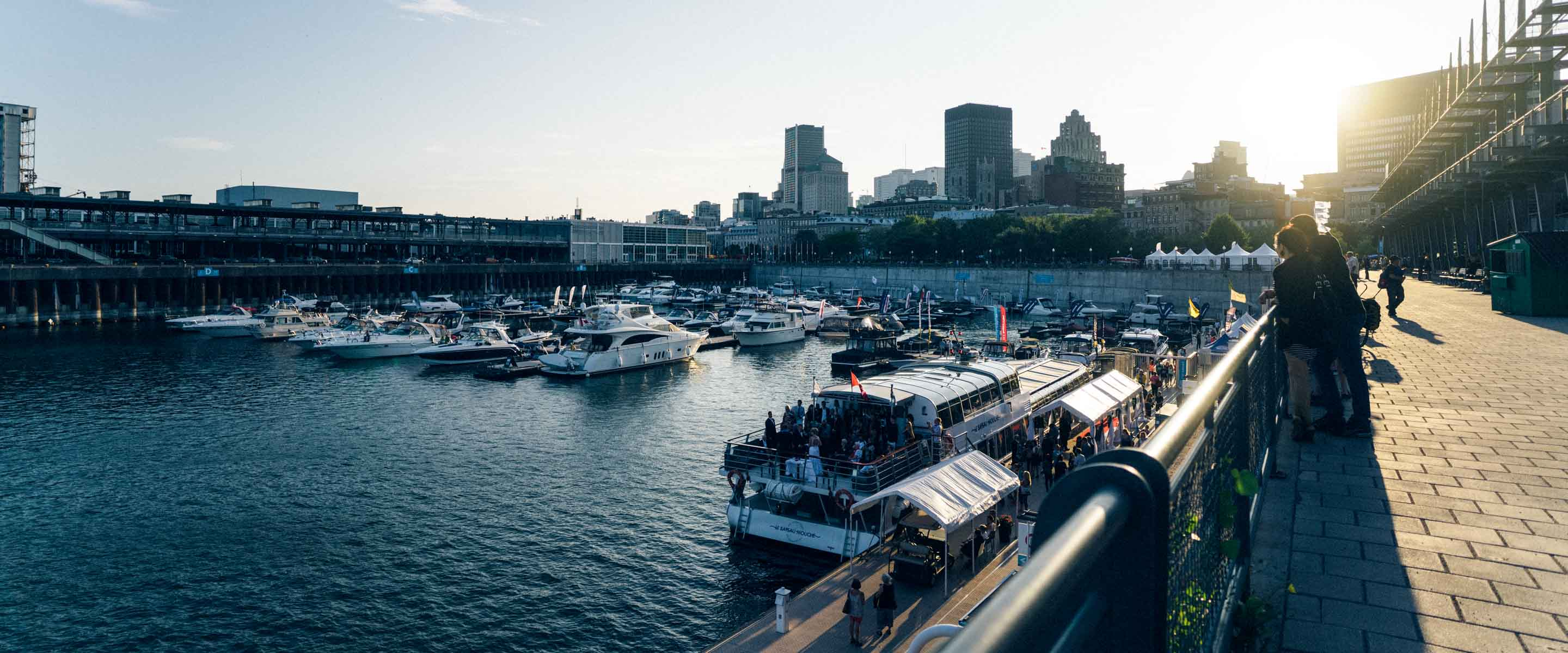 a harbor in montreal with a bunch of boats