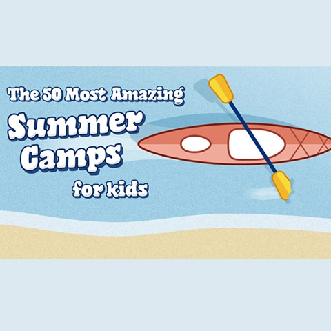 graphic that says 'the 50 most amazing summer camps for kids'