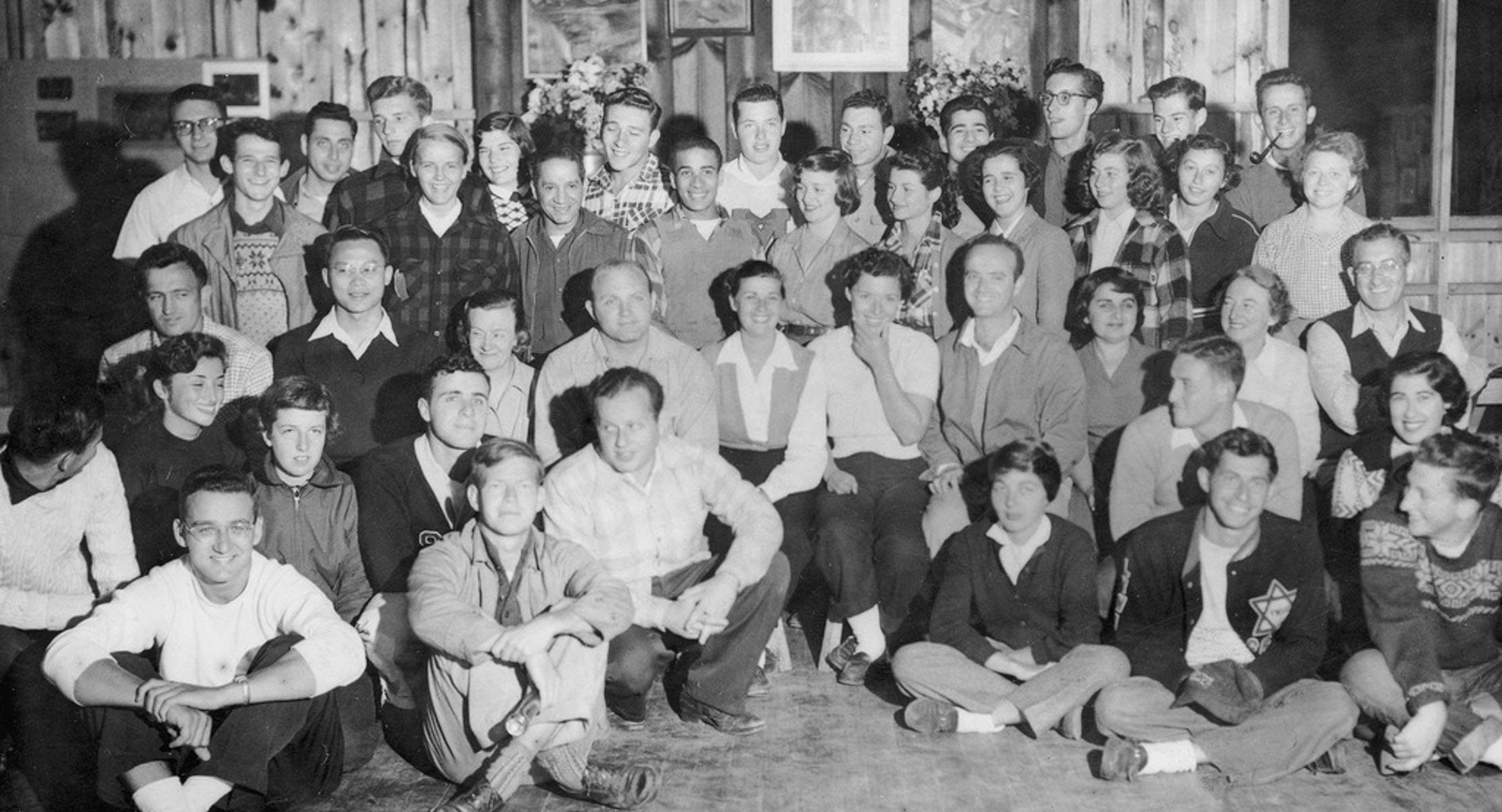 black and white picture of men and women