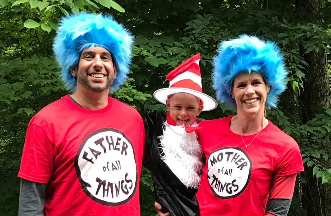 jed and caitlyn dorfman dressed as thing 1 and thing 2 and a young boy as the cat in the cat