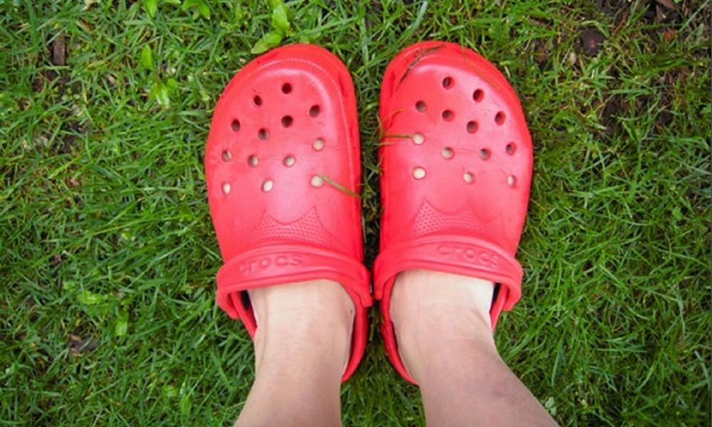 feet in red crocs