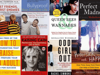 collage of book covers such as 'best friends, worst enemies', 'bullyproof your child for life', 'perfect madness'