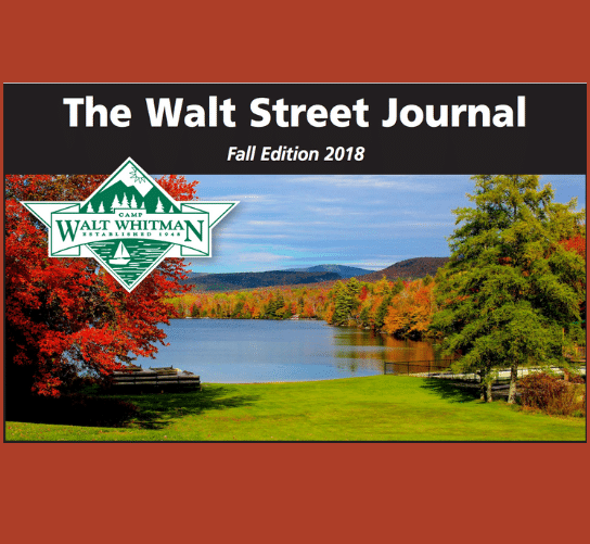 picturesque view of a lake with surrounding tree of chaning color with a caption 'the walt street journal'