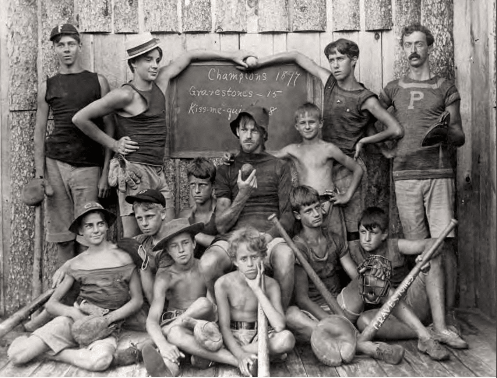 old black and white photo of young boys with baseball gear