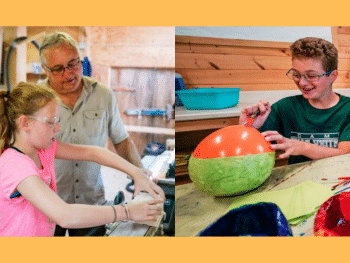 a girl woodworking while a boy does paper mache