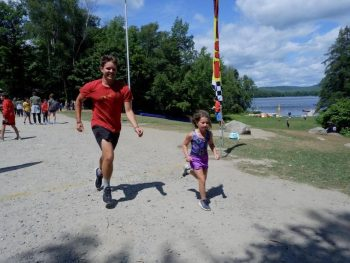 father and daughter at camp visiting day