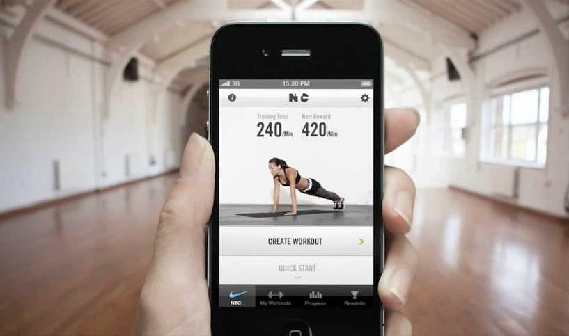fitness app on an iphone